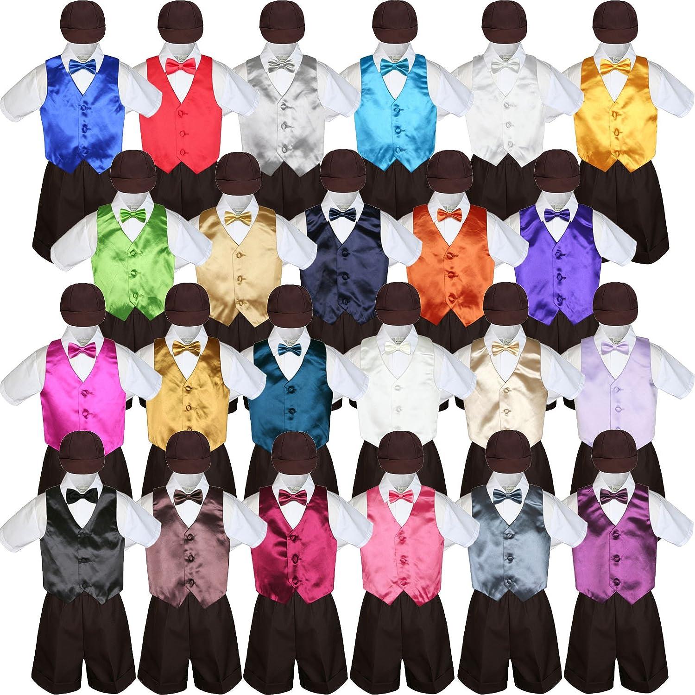 6-12 months 5pc Baby Toddler Boy Black Vest Bow Tie Set Brown Shorts Suit Cap S-4T M: