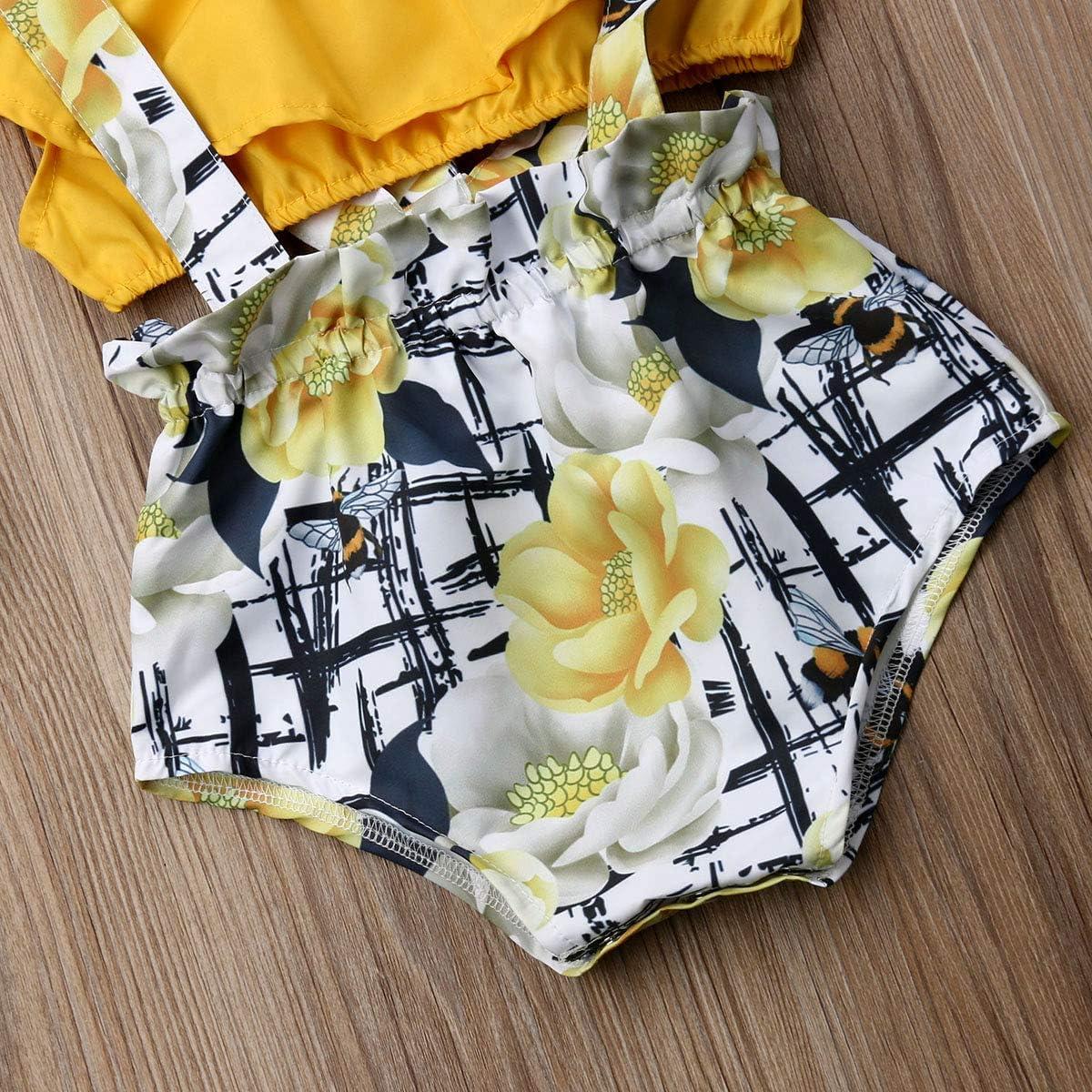 2Pcs//Set Infant Baby Girl Summer Outfits Crop Top+Floral Suspender Overalls Romper Jumpsuit PP Pants 3-18M
