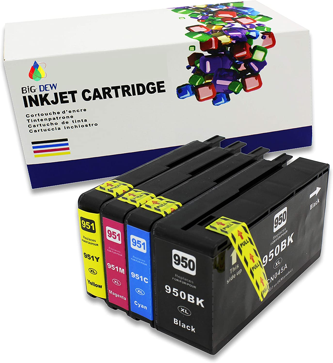 Big Dew Compaitble Ink Cartridge Replacement for HP 950 951 950XL 951XL Ink use with HP OfficeJet Pro 251dw 276dw 8100 8600 8610 8615 8616 8620 8625 8630 Printers (4-Pack)