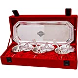Indian Art Villa Silver Plated Beetel Bowl with Spoon and Tray, Tableware and Serveware Decorative Diwali Gift Set (Pack of 7)