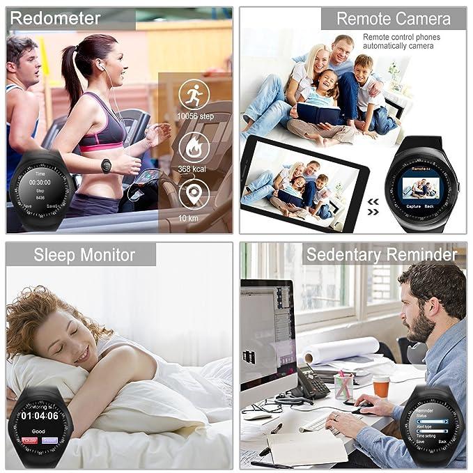 Smartwatch,Impermeable Reloj Inteligente Redondo con Sim ...
