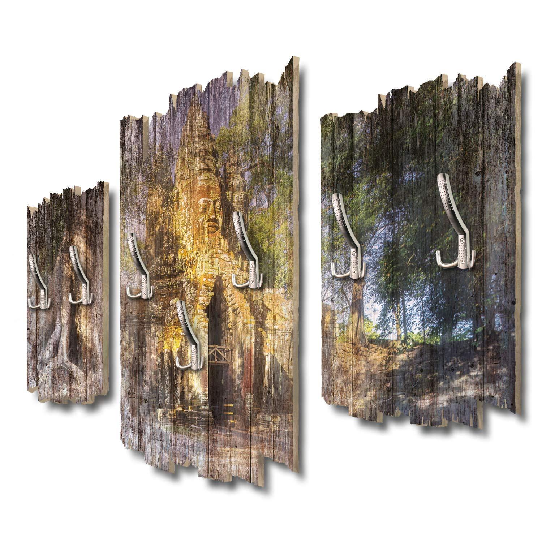 Kreative Feder Angkor Wat Ruine Designer Wandgarderobe Flurgarderobe Wandpaneele 95 x 60 cm aus MDF DTGH041