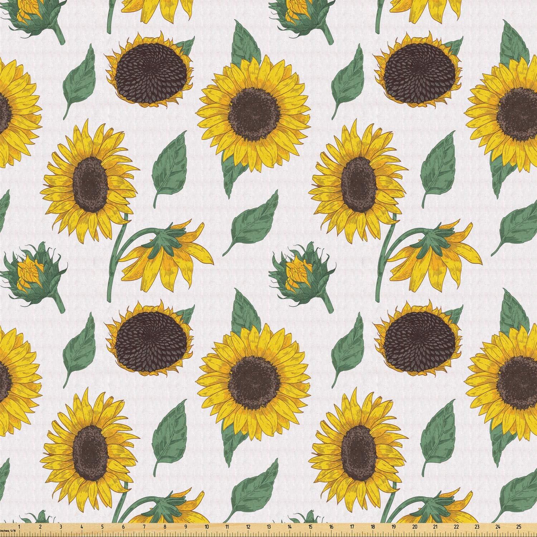Ambesonne tela de girasol por yarda, patrón agrícola, inspiración ...