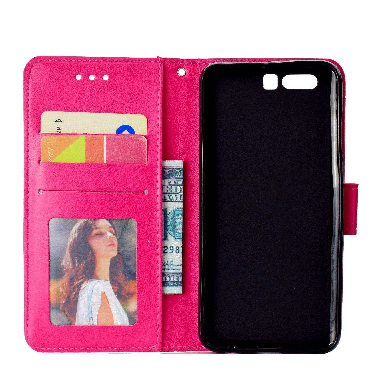 Schutzh/ülle Brieftasche mit Kartenfach Klappbar Magnetverschluss Sto/ßfest Kratzfest Handyh/ülle Case f/ür Huawei Honor 9 LOHHA10950 Grau Lomogo Huawei Honor 9 H/ülle Leder