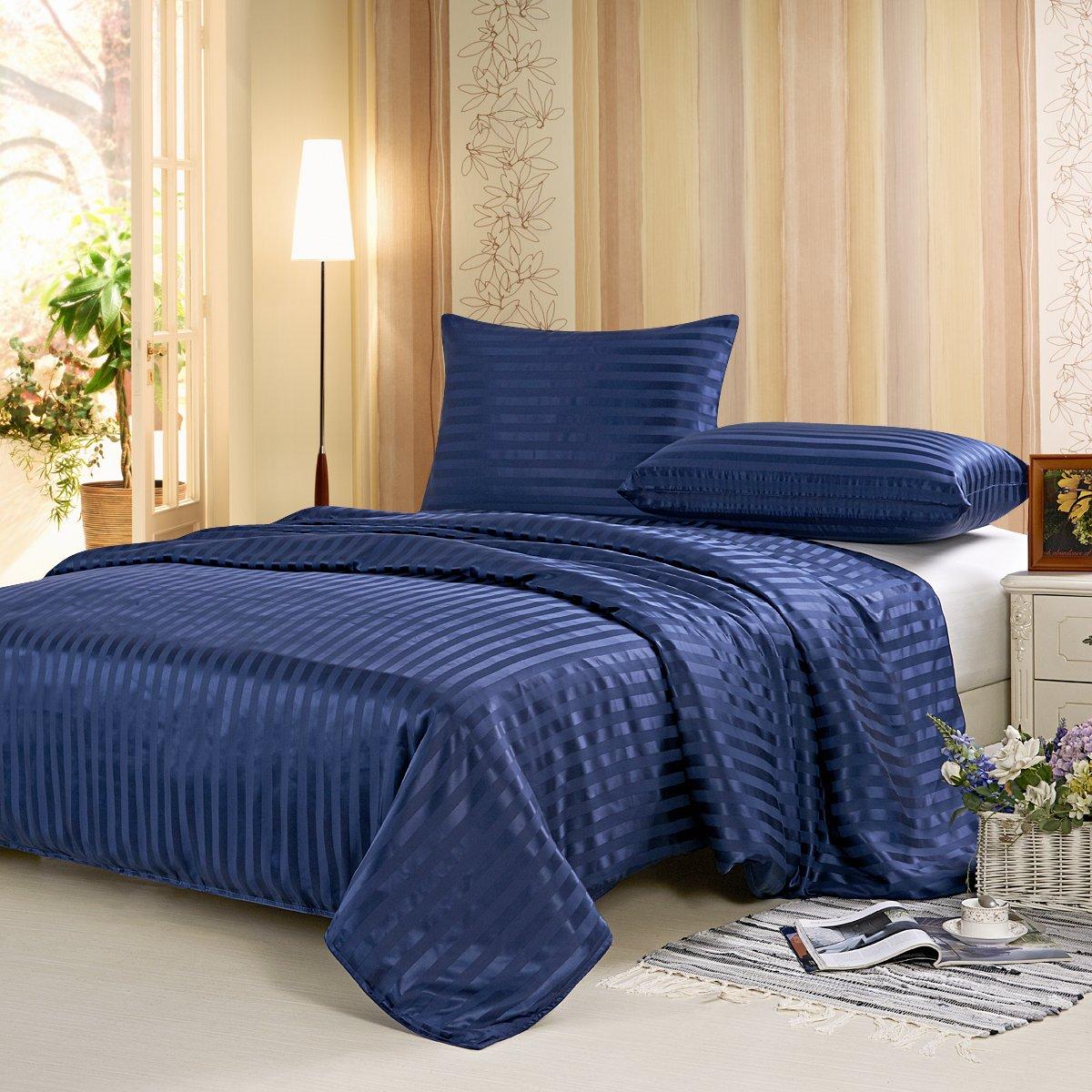 ALASKA BEAR - Mulberry Silk Seamless Duvet Cover with Hidden Zipper Closure, Hypoallergenic Comforter Cover(King, Navyblue Stripe)