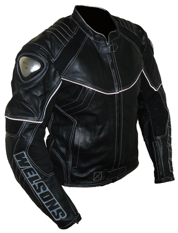 Schwarz protectWEAR Motorrad Lederjacke 62