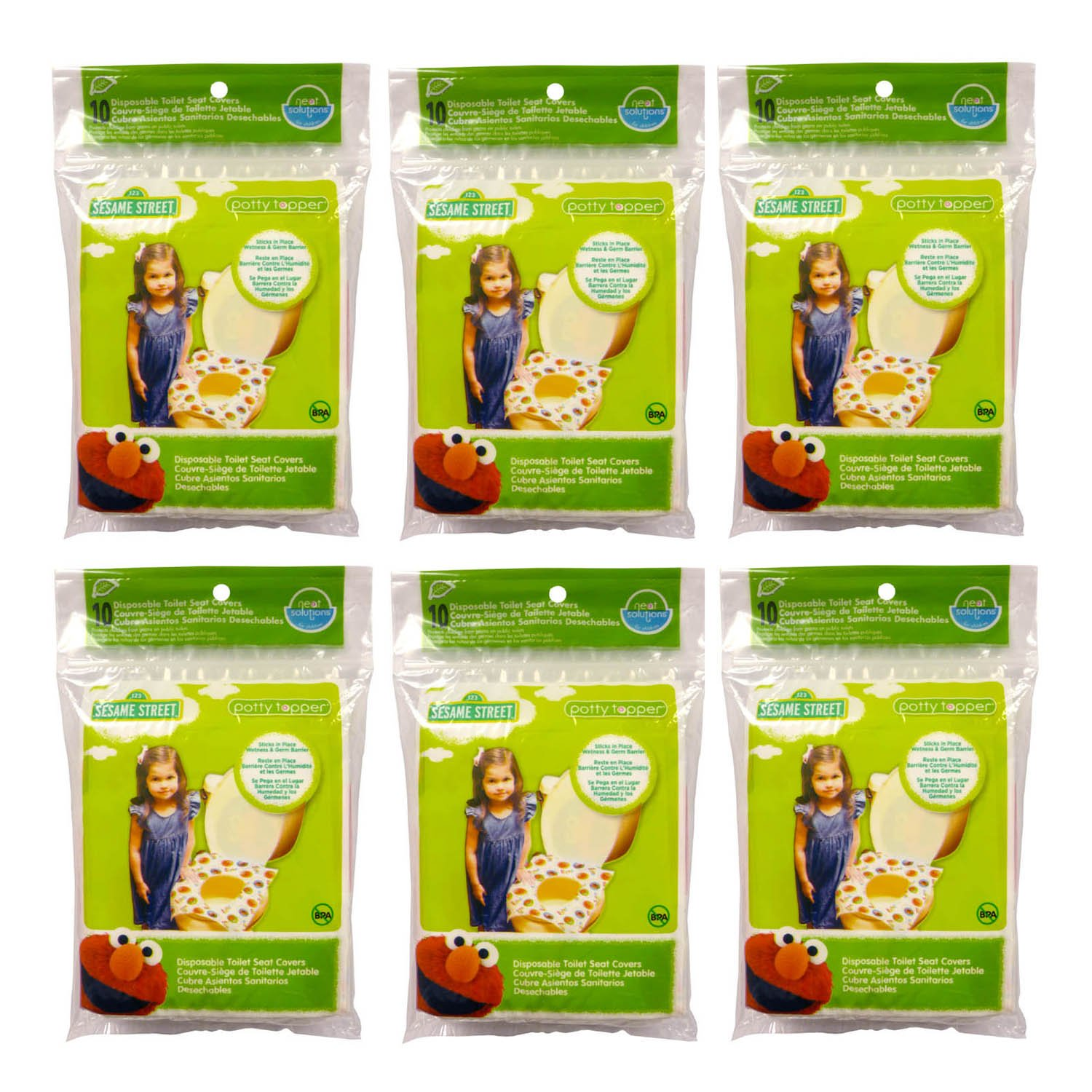 Sesame Street Potty Topper Disposable Stick-in-Place Toilet Seat Covers, 40-Count 10005