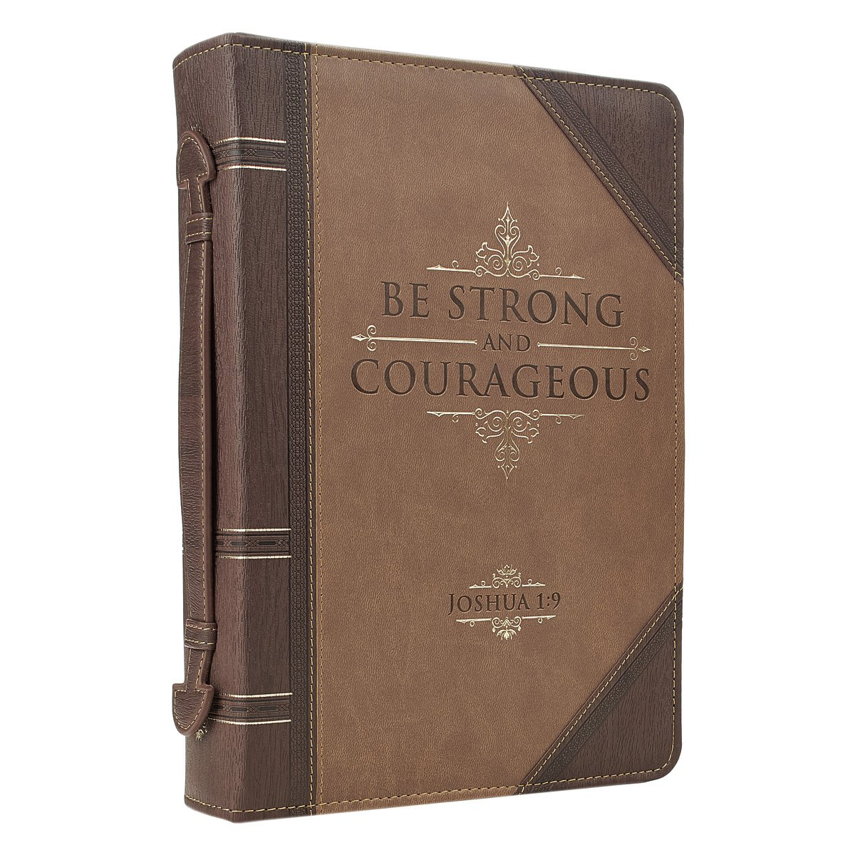 Antique Book ''Be Strong & Courageous'' Bible / Book Cover - Joshua 1:9 (Large)