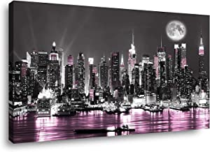 Canvas Wall Art for Living Room Paintings Wall Art Decor Bathroom Wall Art Bedroom Bathroom Pictures Wall Decor Art Prints Framed Pink New York City Large Cuadros De Pared De Sala Pictures 24