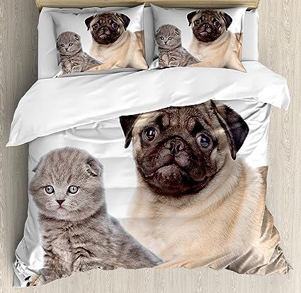 Pug Funda de edredón Set por Ambesonne jóvenes mascotas gatito y cachorro, perro Scottish Fold