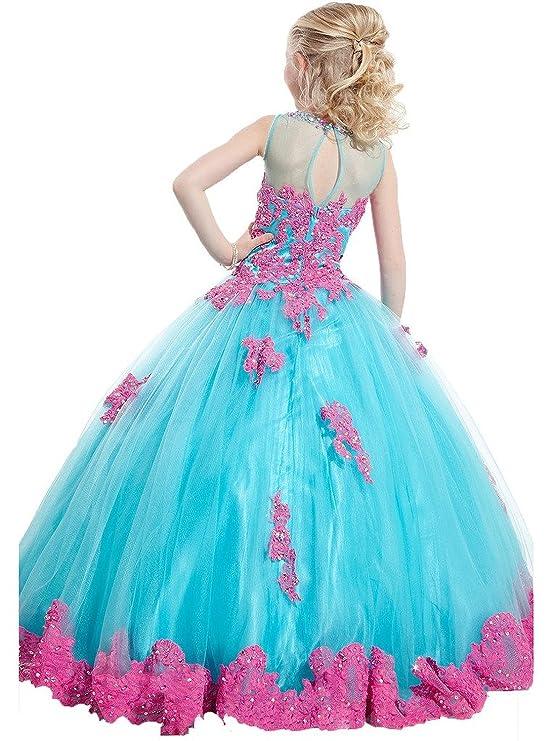 Amazon.com: FatefulBridal Girls\' Ball Gown Appliques Beads O-neck ...