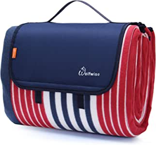 """WolfWise Waterproof Picnic Blanket, Extra Large 79""""x79"""" Sandproof Picnic Mat with 3 Layers Material for Outdoor Camping Hiking Grass Travelling, Portable with Storage Bag, Red Blue Stripes"""