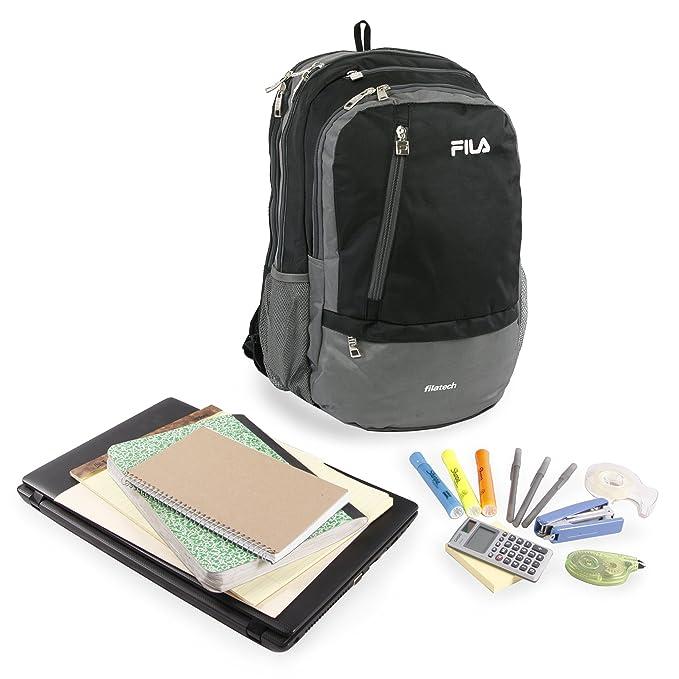 ce73b2406f Amazon.com  Fila Duel School Laptop Computer Tablet Book Bag Backpack Black  One Size