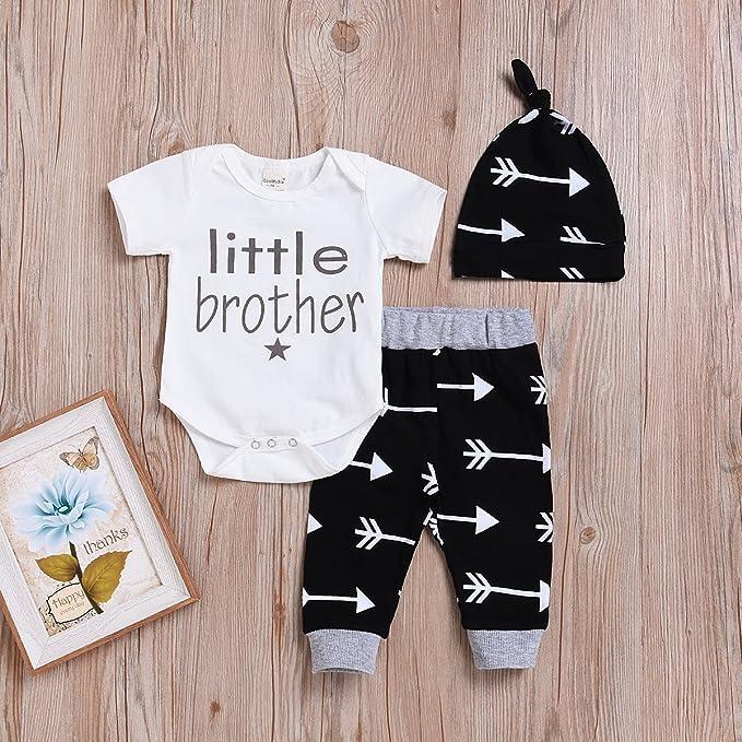 b2fd7cb0300a Amazon.com  SWNONE 3pcs Set Newborn Baby Boys Little Brother Long ...