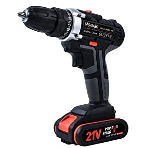 "Drill Driver, 21V Cordless Drill 2 Batteries,30Min Fast Charger 4.0A, 25+1 Torque Setting, 2-Variable Speed Max Torque 550 In-lbs, 3/8"" Metal Keyless Chuck"