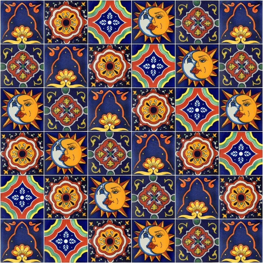 Mexican Tiles Mix Box of 100 Talavera Tiles Hand Painted 5 Colonial Patterns F90