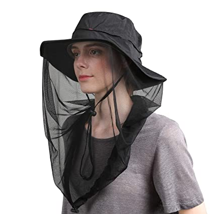 1473c2f7 Flammi Mosquito Head Net Hat Outdoor UPF 50+ Sun Hat with Mesh Face Neck  Mask