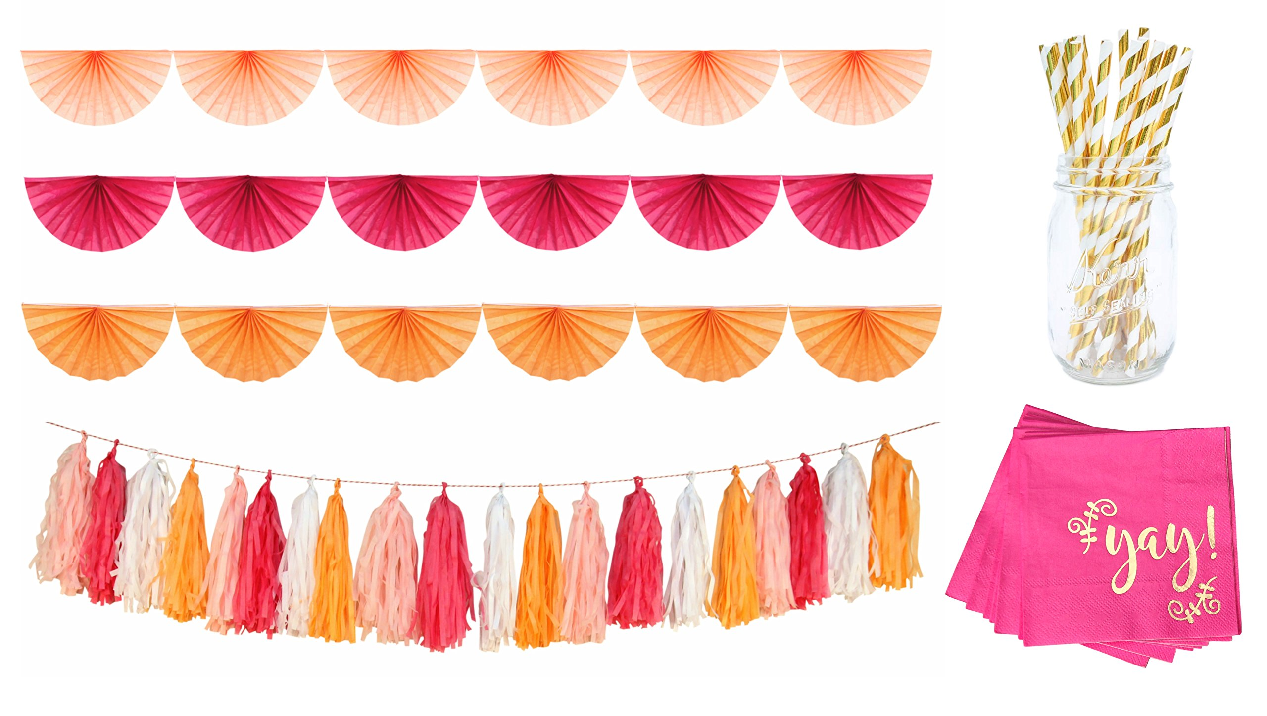 Pink Party Decorations   Tissue Tassel, Paper Fan Garland Bunting, Cocktail Napkins and Gold Paper Straws Kit by Blast in a Box (Tassels and Fan Garland Set, Sherbert)
