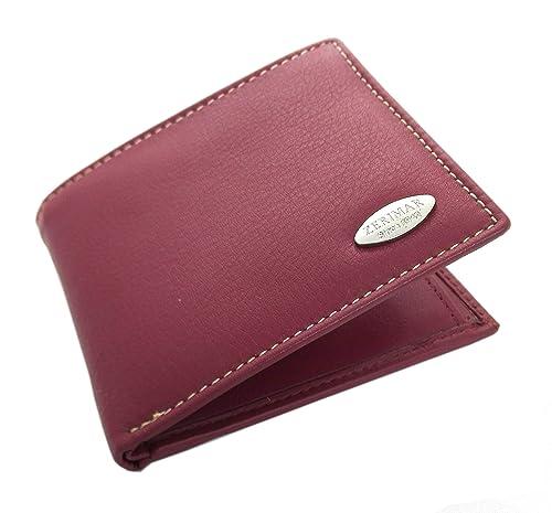 Zerimar Cartera hombre | carteras de piel hombre| carteras de hombre | carteras con tarjetero múltiples compartimentos Color cherry Medidas: 10x9 cms: ...