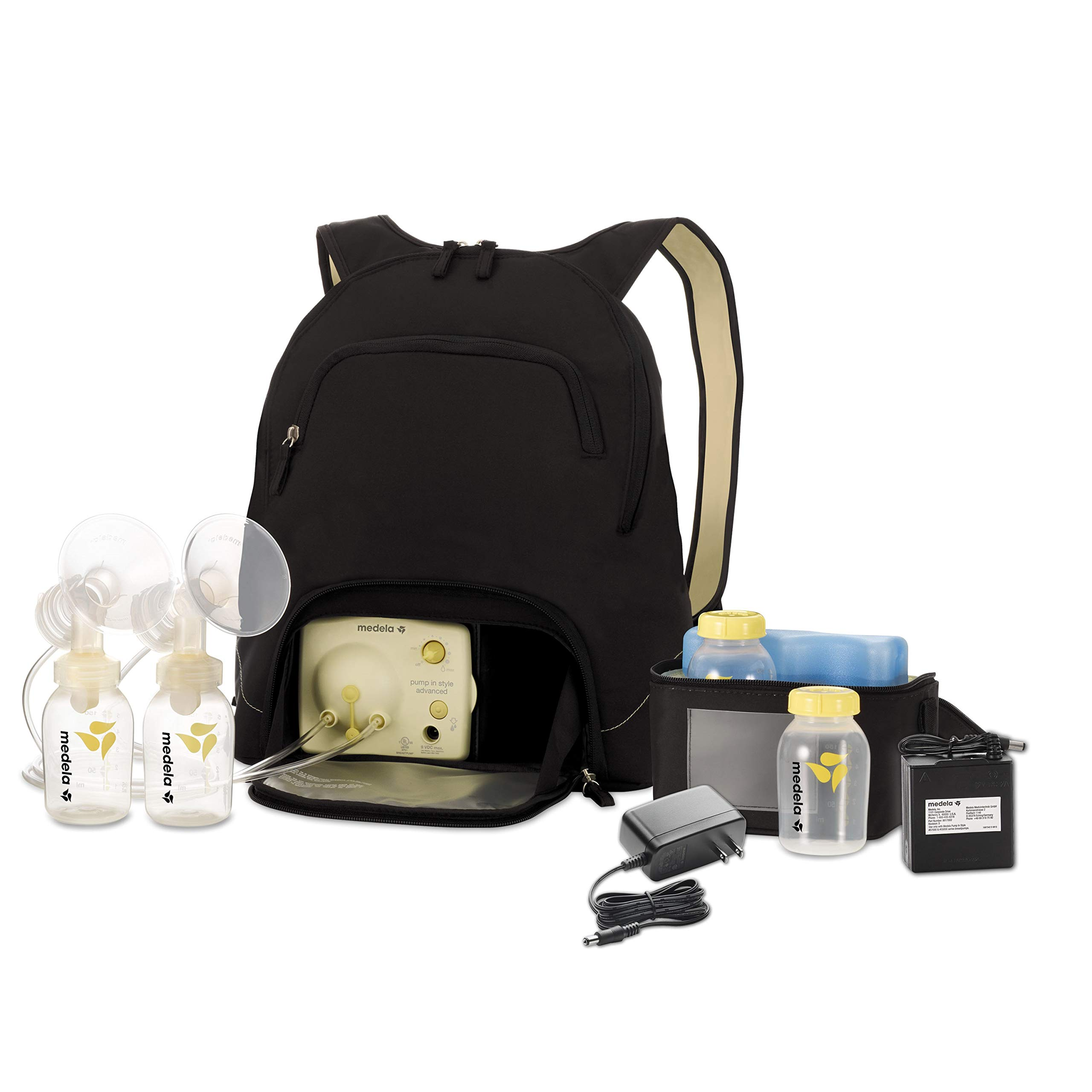 Medela Pump in Style Advanced Breast Pump with Backpack, Double Electric Breastpump, Portable Battery Pack, Adjustable Speed and Vacuum, Power Supply Adapter 110v - 220v by Medela