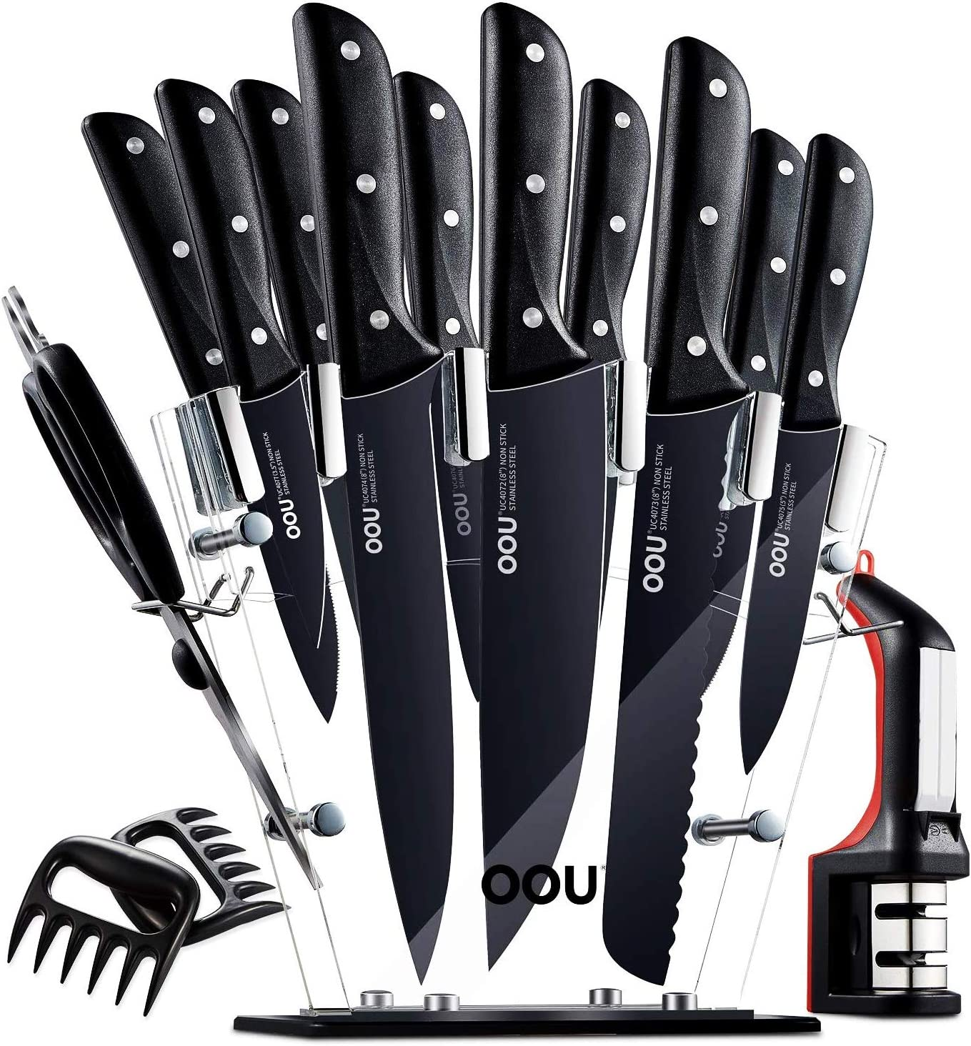 Knife Set - 15 Kitchen Knife Set with Block, Stainless Steel Kitchen Knives Ultra Sharp - Full Tang with Triple Rivets, Clear Acrylic Stand, BO Oxidation Anti-rusting, Knife Sharpener & Meat Claws