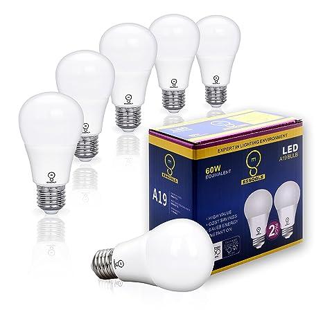 Pack de 6 ESGOALS 8W E27 Bombillas LED, 800 Lumenes, 3000K, Luz de