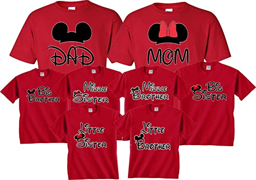 7df83e62 Mickey DAD Minnie Mom Disney FAMILY Vacation Matching Tshirts (SON-White-Xs  Youth