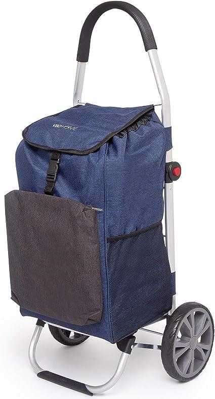 VeoHome Chariot de Course Caddie à roulettes Bleu et Noir - Cabas à Roues  Pliable avec Sac Isotherme pour Le marché