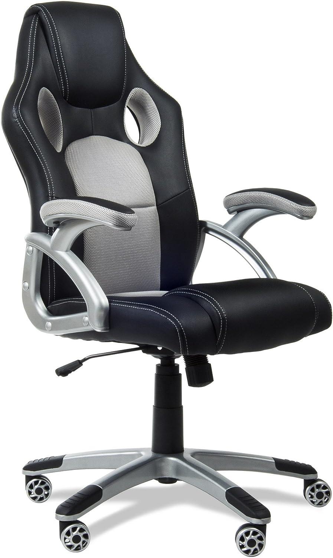 KEWAYES RACING - Silla de Oficina Racing Gaming, sillon de Despacho escritorio Gamer color Gris con reposabrazos y ajustable, 4 ruedas