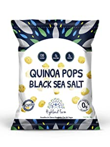 Highland Farm, Quinoa Pops, Black Sea Salt, Pack of 3, Size 1.1 oz. 100% Natural Healthy Snacks