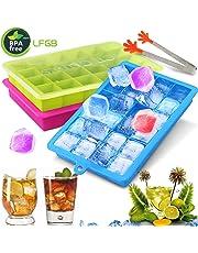 Gifort [3 Pezzi Stampo Ghiaccio, Stampi Ghiaccio con Coperchio, Stampo Cubetti Ghiaccio per Alcolici, Whisky, Cocktail, Drink, Candy Budino, Latte Succo, LFGB/FDA Certificata, BPA-Free.