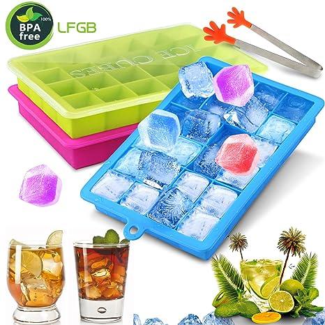 Gifort Eiswürfelform, Eiskugelform, DIY Silikon-Eiswürfelform, 3 Pack Silikon Eiswürfelformen-2.5cm Würfel Eiswürfel, Eiswürf