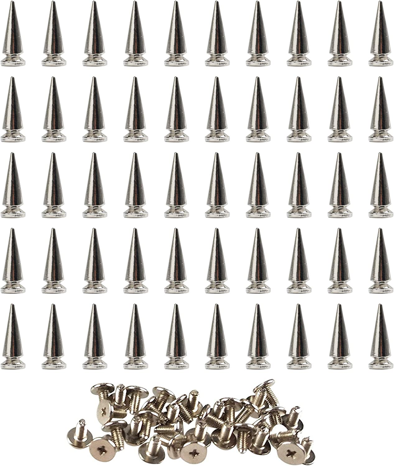 10 Pcs 26mm Silvery Metal Bullet Spikes Studs Rivets Cone Screwback Spots Trendy