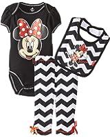 Disney Baby Baby Girls' Minnie Mouse 3 Piece Soft Bodysuit, Bib and Pant Set