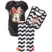 Disney Baby Girls Minnie Mouse 3 Piece Striped Bodysuit Bib and Pant, Black, 0-3 Months