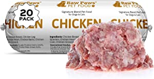 Raw Paws Pet Raw Frozen Dog Food & Cat Food, Chicken Recipe, 1-lb Rolls (20 Pack) - Fresh Dog Food Made in USA - Natural Cat Food Roll - Raw Diet Dog Food - Raw Dog Food - Meat Roll Dog Food Log