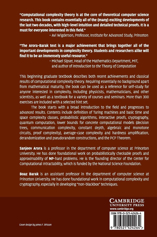 Computational Complexity: A Modern Approach: Amazon.de: Sanjeev ...