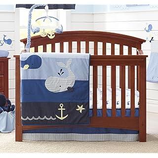 Nautica Kids Brody Nautical/Whale 4 Piece Nursery Crib Bedding Set