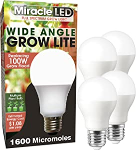 MiracleLED 604612 Full Spectrum Wide Angle Grow Light, 4-Pack, Full Spectrum Replace 100W