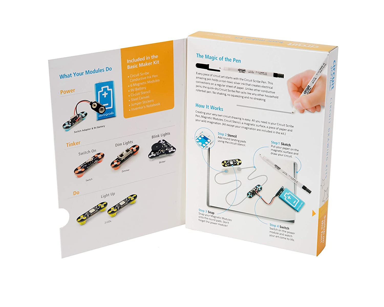 Circuit Scribe Basic Kit Includes Conductive Silver Introduction To The Electric Switch Using Snap Circuits All Ink Pen Learn Explore And Create Your Own Switches Toys Games