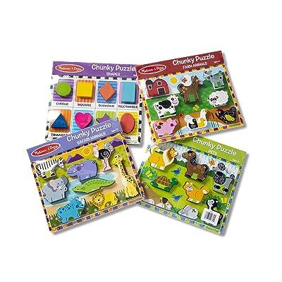 Melissa & Doug Wooden Chunky Puzzle Farm/Pet/Safari/Shapes Puzzle (8 Piece): Toys & Games