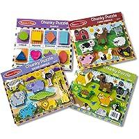 Melissa & Doug Wooden Chunky Puzzle Bundle - Farm, Pet, Safari and Shapes