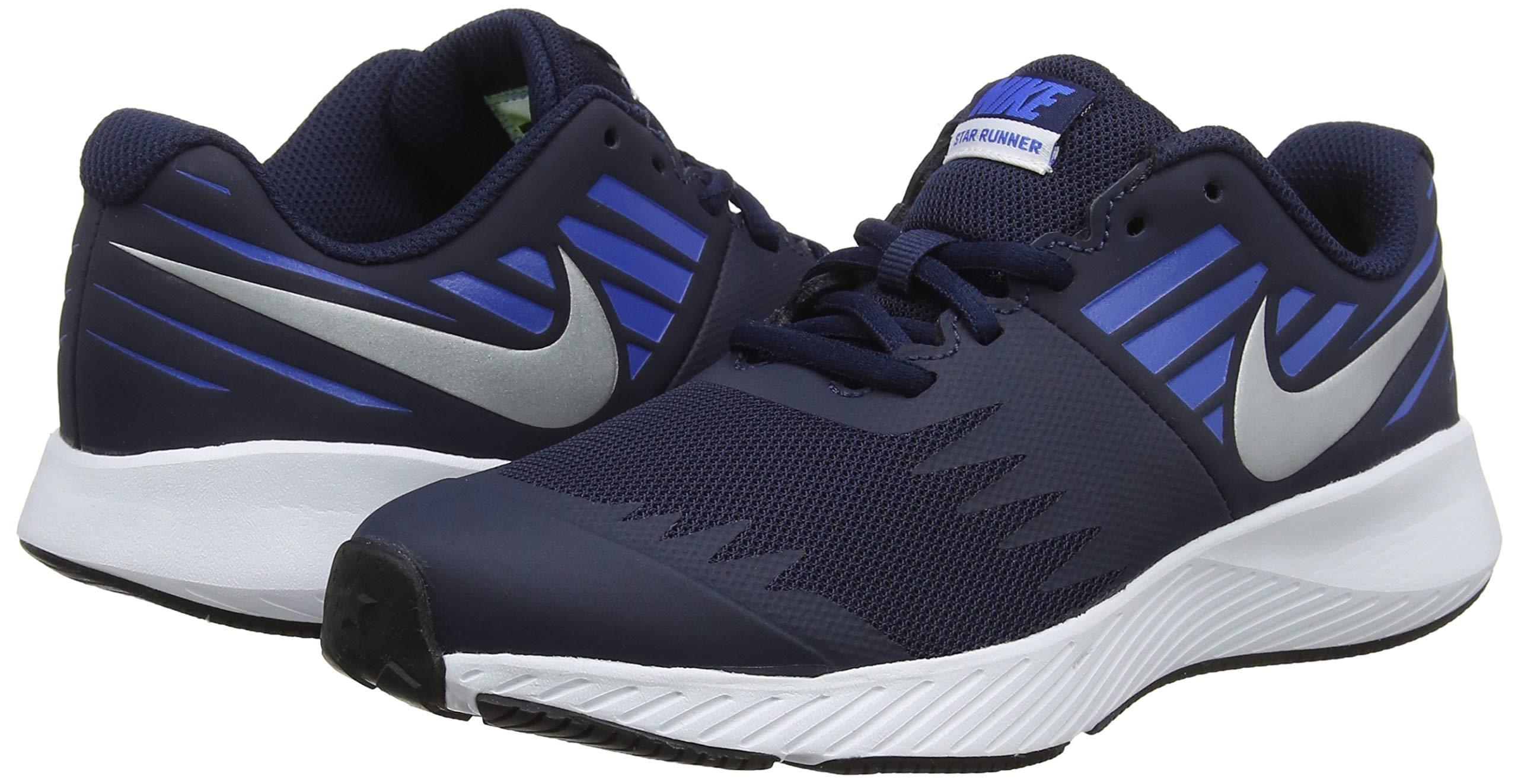Nike Boy's Star Runner (GS) Running Shoe Obsidian/Metallic Silver/Signal Blue Size 3.5 M US by Nike (Image #5)