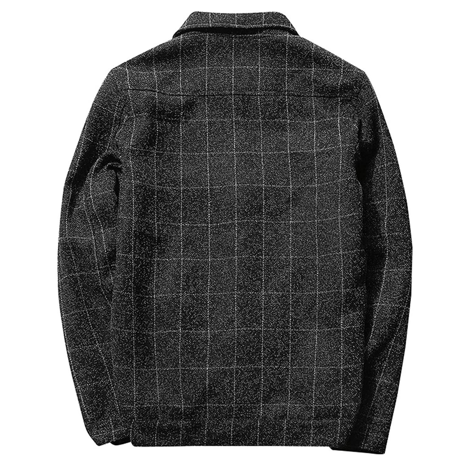 WALK-LEADER Mens Autumn Outdoor Casual Working Style Checked Jacket