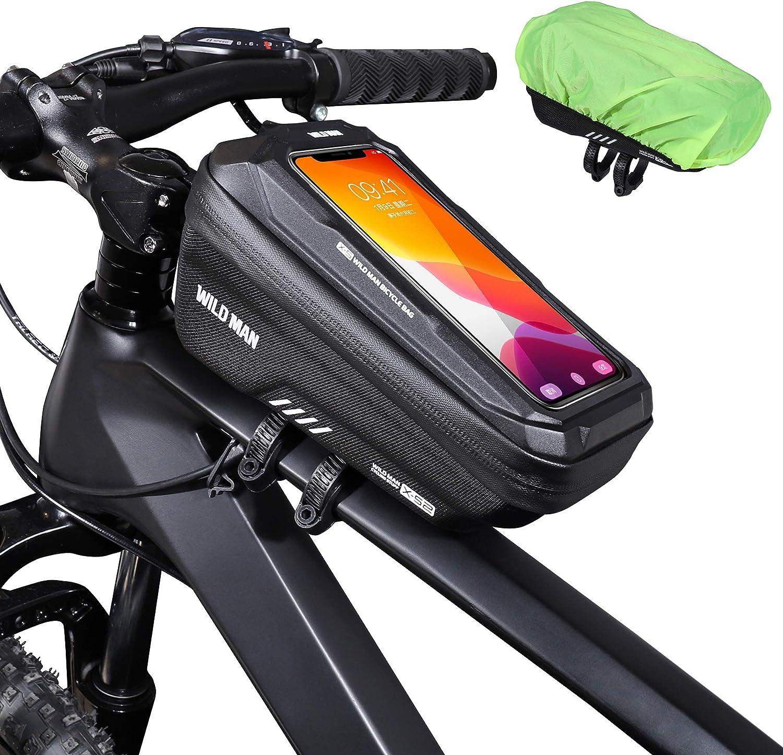 ENONEO Bolsas Bicicleta Manillar Impermeable Bolsa Movil Bicicleta Montaña con Almacenamiento de Gran Capacidad y Cubierta de Lluvia MTB Bolsa Bici Cuadro para Telefono de hasta 6,7 Pulgadas