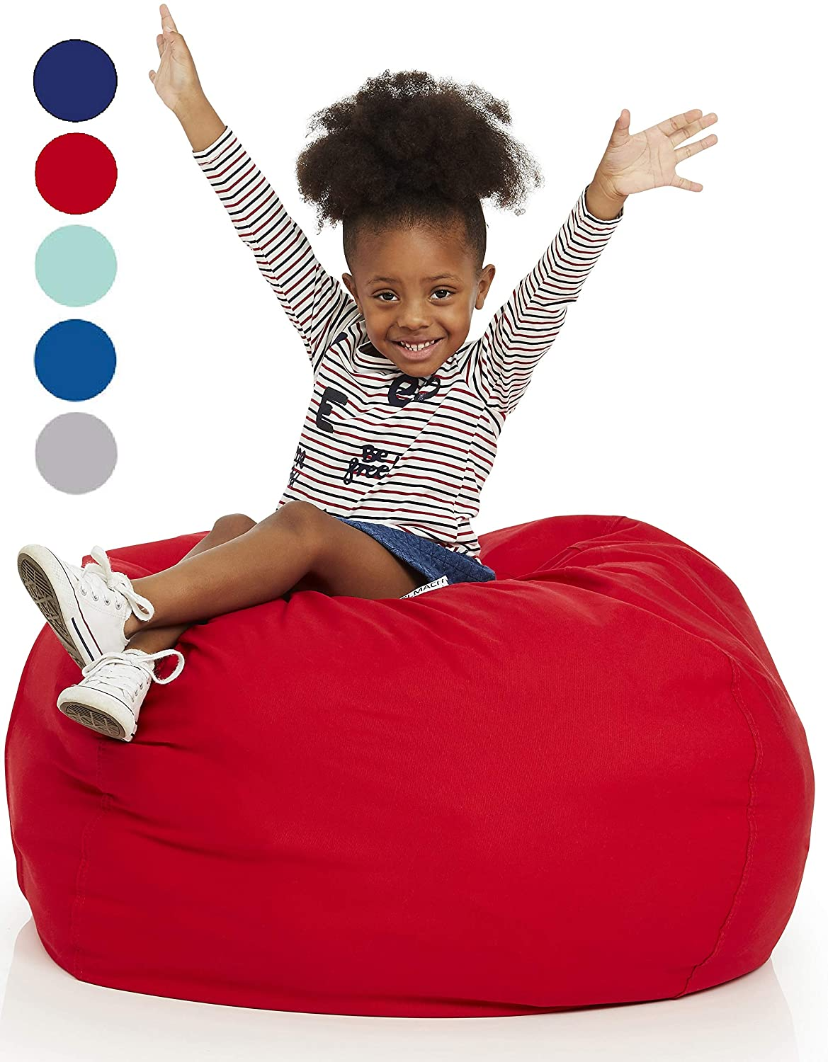 """Delmach Stuffed Animal Bean Bag   100% Cotton Canvas (Red)   Storage Bean Bag Cover   Cool Kids Chair   Room Organization   Toy Storage Bag   Extra Large 38"""""""