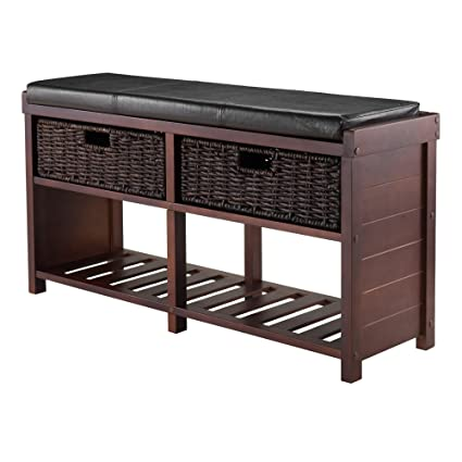 Perfect Bliven Cushion Storage Bench With 2 Basket Storage Drawers Made Of  Manufactured Wood In Cappuccino Finish