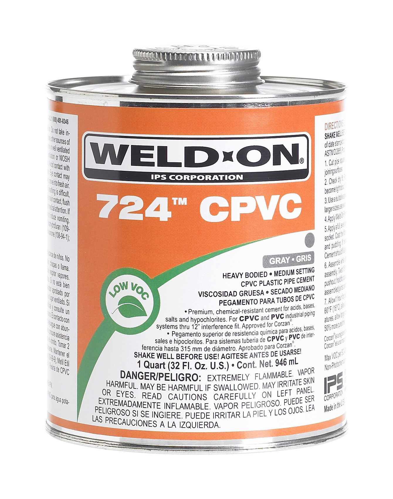 Weld-On 11659 Gray 724 Heavy-Bodied CPVC Professional Industrial-Grade Cement, Medium-Setting, Low-VOC, 1 quart Can with Applicator Cap