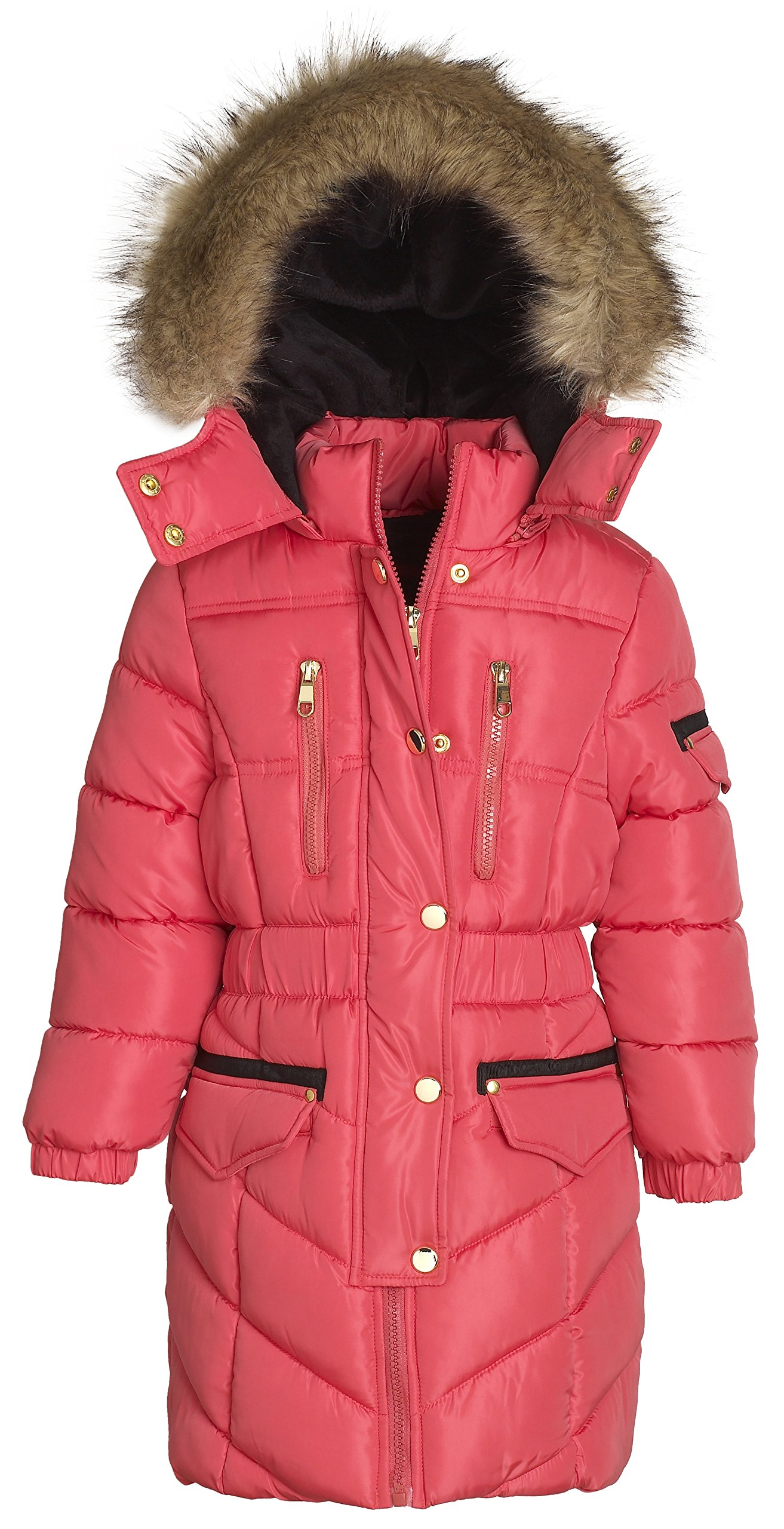 Sportoli Girls' Winter Heavy Quilt Padded Puffer Jacket Plush Lined Hooded Coat (Hibiscus, 7/8)