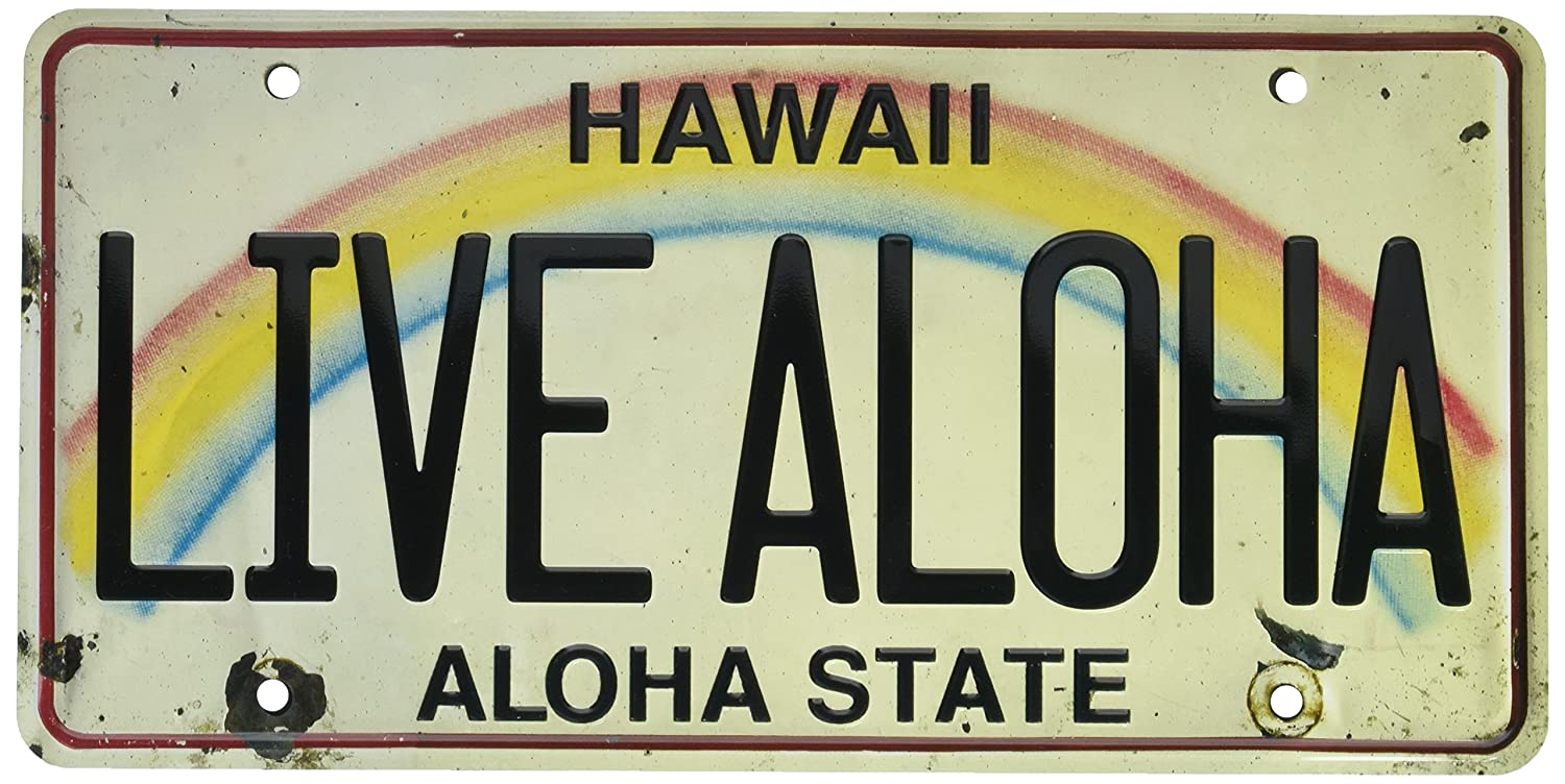 Pacifica Island Art 6in x 12in Vintage Hawaiian Embossed License Plate - Live Aloha